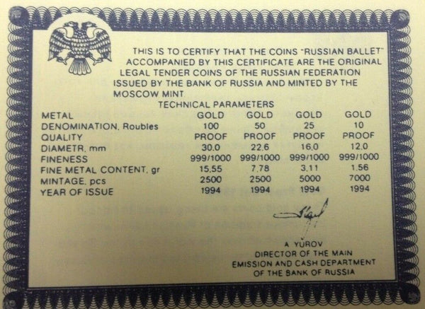 Russia 1994 Proof Set 4 Gold Coins Ballet Box COA NGC PF68-69 Rare
