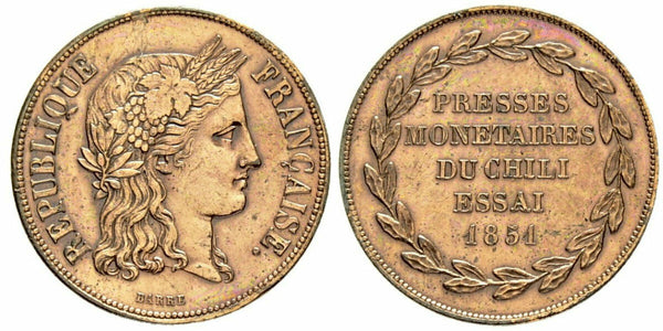France 1851 Essai Rare Cooper Trial 20 Francs NGC MAZ-1381 for Chilie
