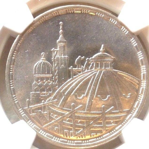Egypt 1406 1986 Silver 5 Pounds Parliament Assembly Building NGC MS66