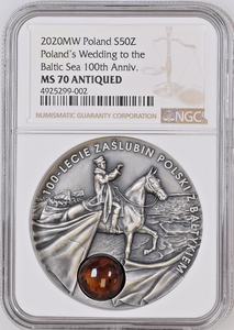 2020 Poland Silver 50 Zloty Wedding to the Baltic Sea 100th Anniversary NGC MS70