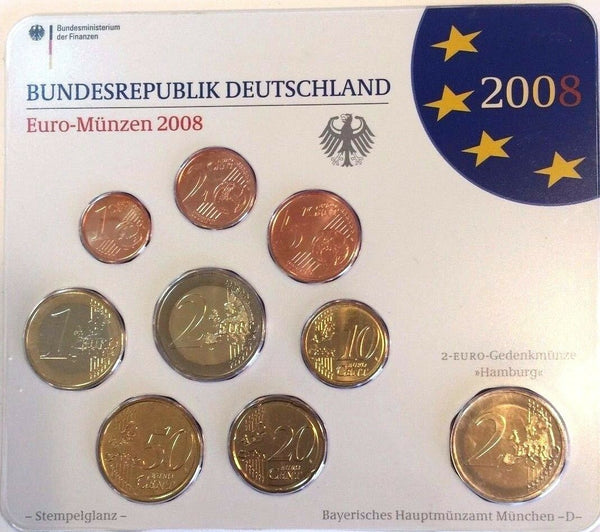 2008 D Germany Euro Official Coin Set Special Edition München Mint Deutschland