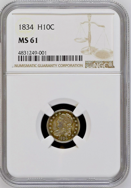 1834 Early Half Dimes NGC MS61 Silver Coin 5 cents United States