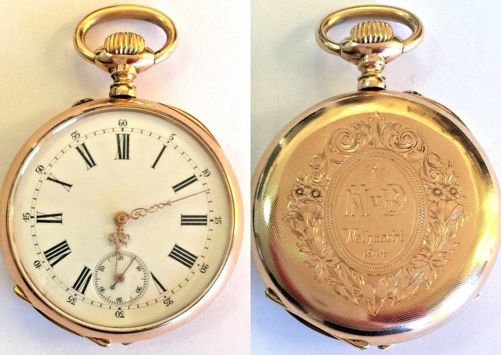 Antique Swiss 1890 Gold Shooting Watch Frauenfeld Switzerland Extremely Rare
