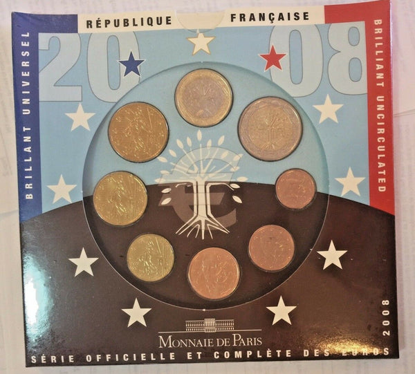 France 2008 Euro Set 8 Coins Monnaie De Paris European Union Special Edition