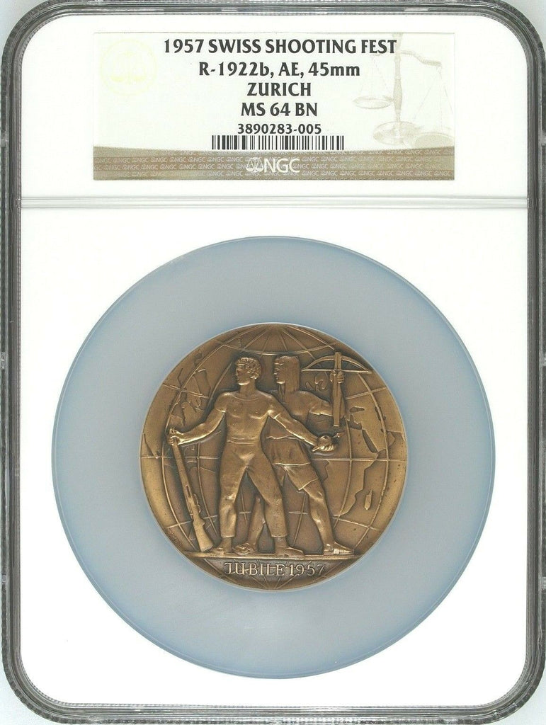 Swiss 1957 Bronze Shooting Medal Zurich 50th Anniv. Archer R-1922b NGC MS64 Rare