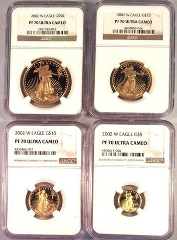 2002 W Gold Set $50 25 10 5 American Eagle 4 Coins United States NGC PF70