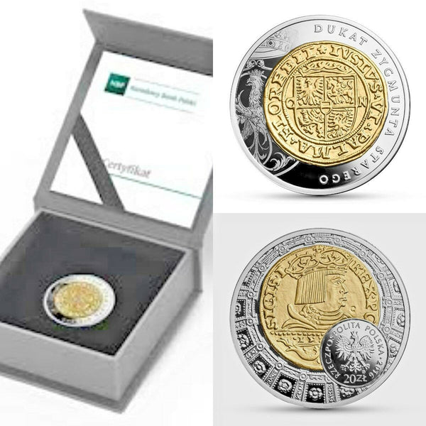 2016 Poland Silver Gilt 20 Zloty Ducat of Sigismund the Elder Zygmunta Starego