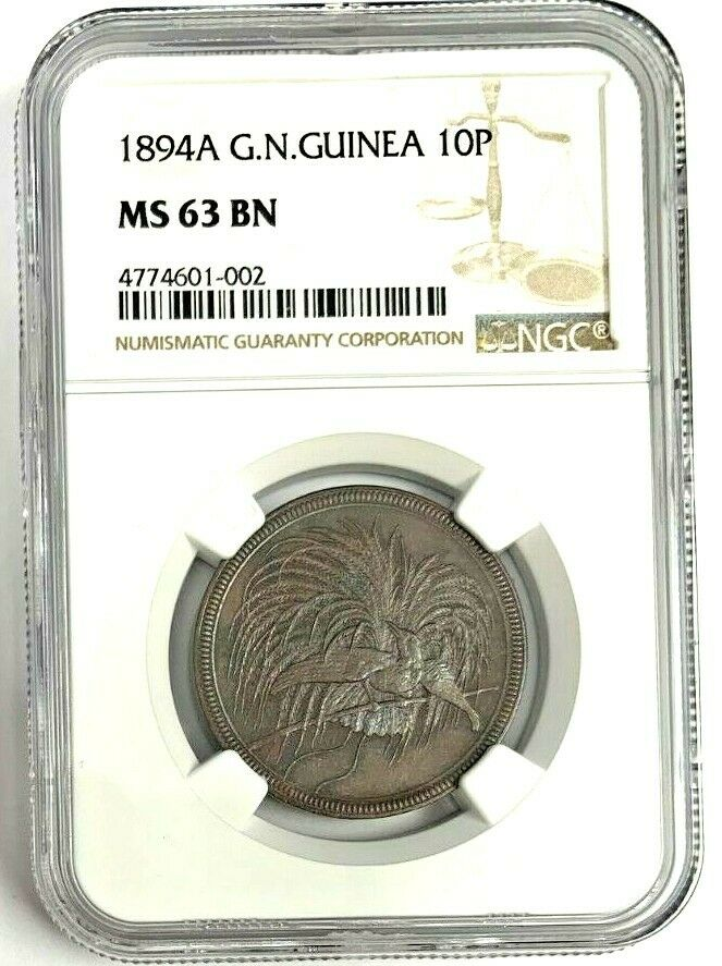German New Guinea 1894 10 Pfennig Bird of Paradise Wilhelm II NGC MS63