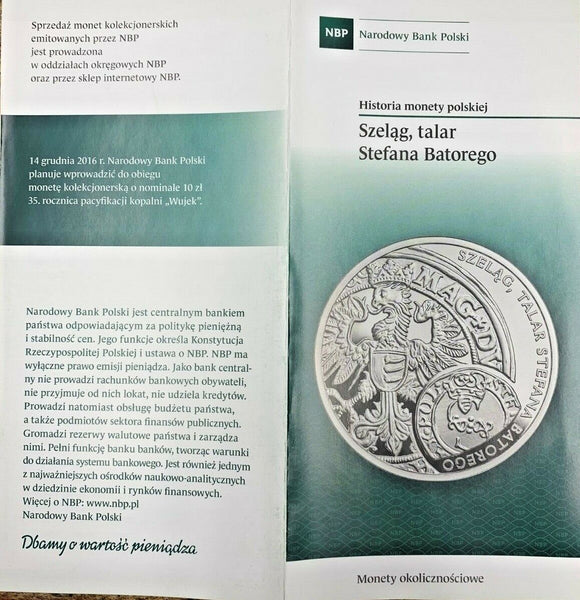 2016 Poland Silver Coin 20 Zloty Schilling and Thaler of King Stephen Bathory