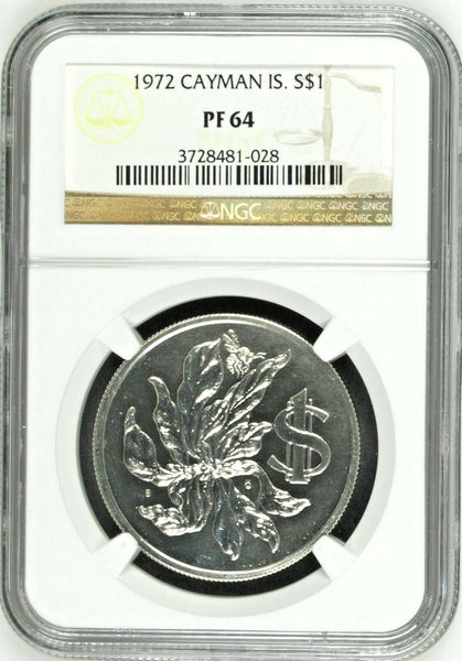 1972 CAYMAN Islands 1$ Silver Coin Graded by NGC as PF64