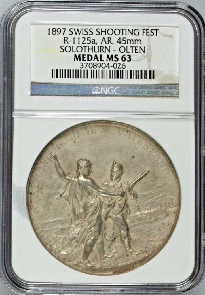 Swiss 1897 Silver Shooting Medal Solothurn Olten R-1125a Switzerland NGC MS 63