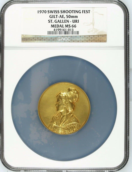 Swiss 1970 Gold Plated Shooting Medal St Gallen Uri Beautiful Woman NGC MS66