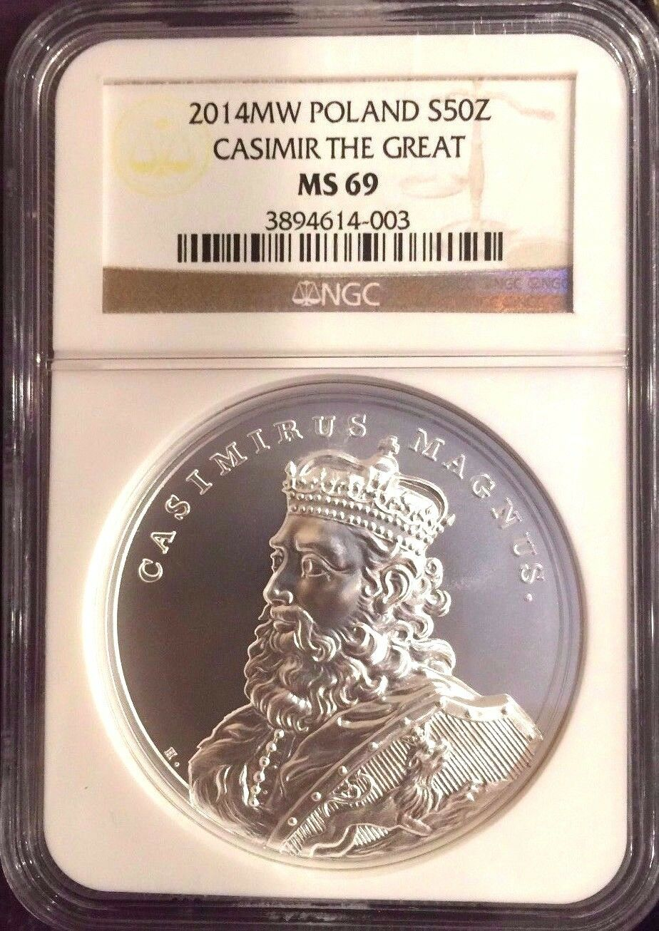 2014 Poland Silver 50Zl Stanislaw Casimir The Great Kazimierz Wielki NGC MS69