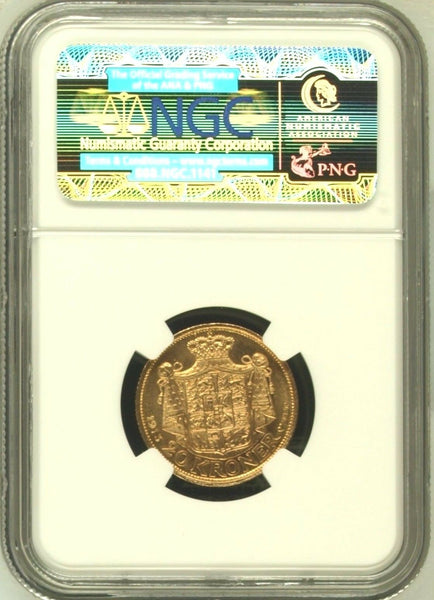 Denmark 1913 VBP AH Gold Coin 20 Kroner King Christian X NGC MS64
