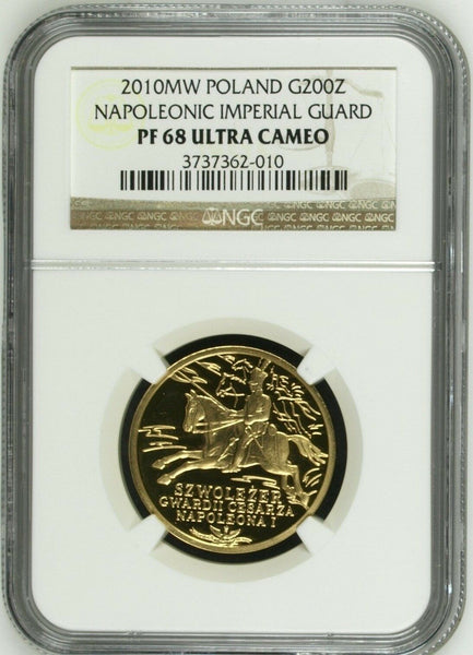 2010 Poland Gold Coin 200 Zloty Napoleonic Imperial Guard Horse Cavalry NGC PF68