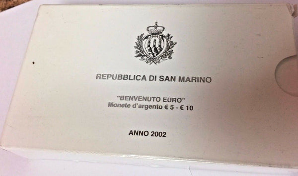 San Marino 2002 Proof Set 10€ & 5€ Silver Welcome Euro Rose Flower Box COA