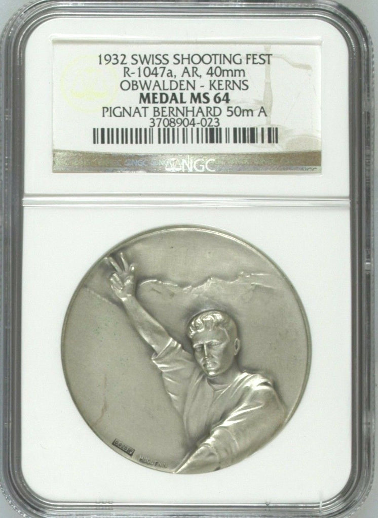 Swiss 1932 Silver Shooting Medal Obwalden Kerns R-1047a M-887 NGC MS64 - Rare