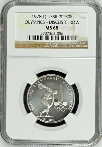 USSR 1978 Platinum Coin 150 Roubles 1980 Olympics Discus Throw NGC MS68 Russia
