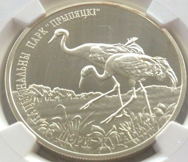 2004 Belarus Silver 20 Roubles Common Cranes Bird NGC PF67 Low Mintage