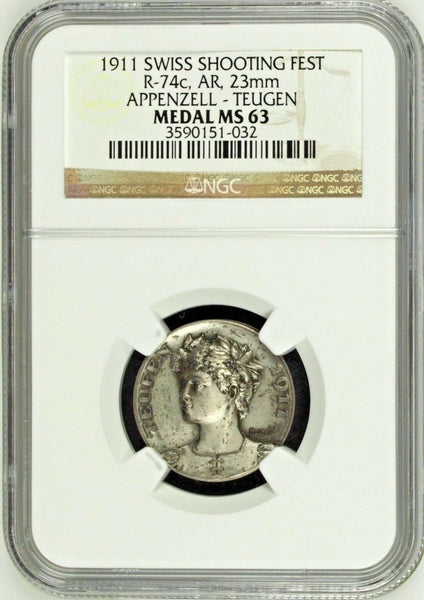 Swiss 1911 Silver Medal Shooting Fest Appenzell Teugen R-74c NGC MS63 Low Mint.