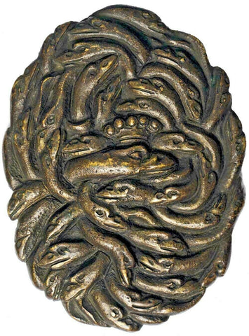 17th-18th Century North Italy Bronze Medal entwined heads of geese
