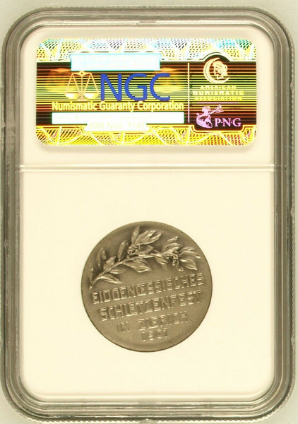 Swiss 1907 Silver Medal Shooting Fest Zurich R-1793d Beautiful Women NGC MS63