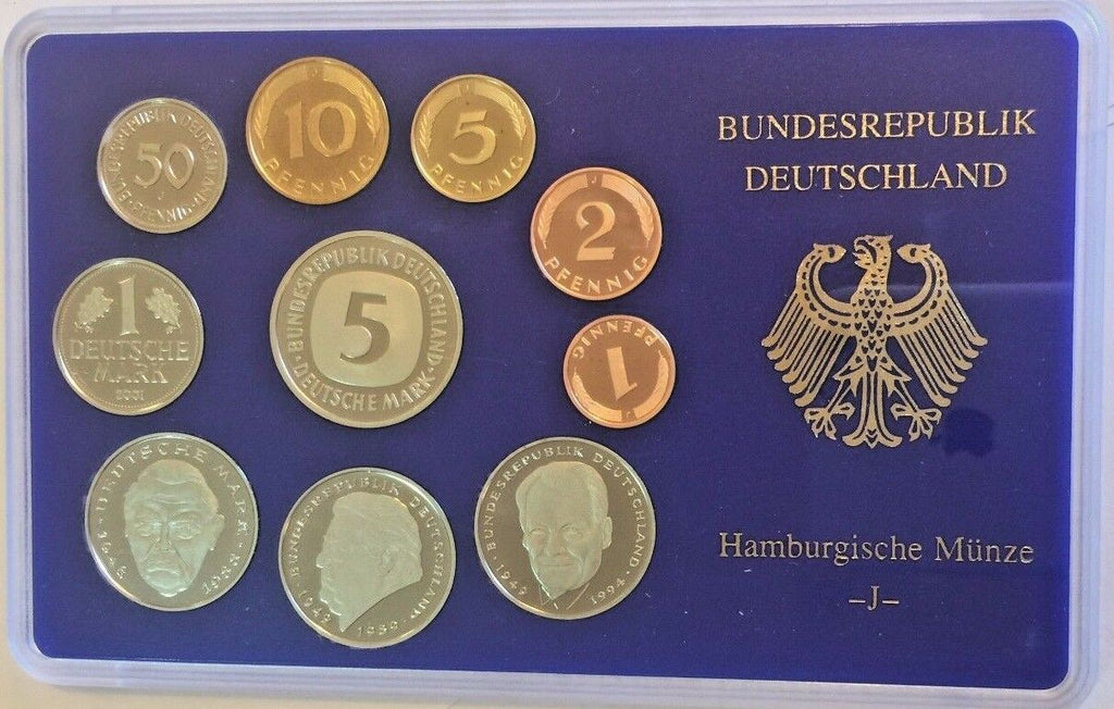 2001 J Germany Deutsche Mark Coin Set Special Edition Hamburg Mint Deutschland
