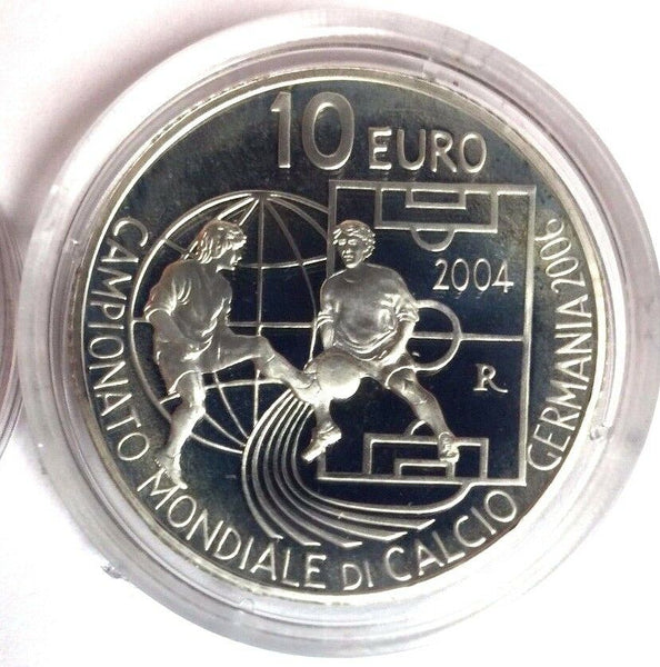 2004 San Marino Set 10€ & 5€ Silver FIFA World Cup Germany 2006 Football Soccer