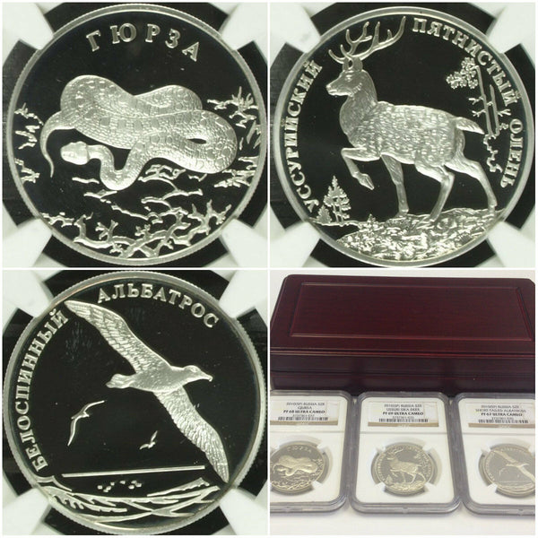 Russia 2010 Set 3 Silver Coins 2Roubles Wildlife Albatros Deer Snake NGC PF67-69