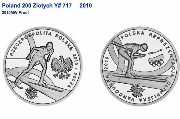 2010 Poland Gold 200 Zloty Vancouver Winter Olympics Skier NGC PF68 Low Mintage
