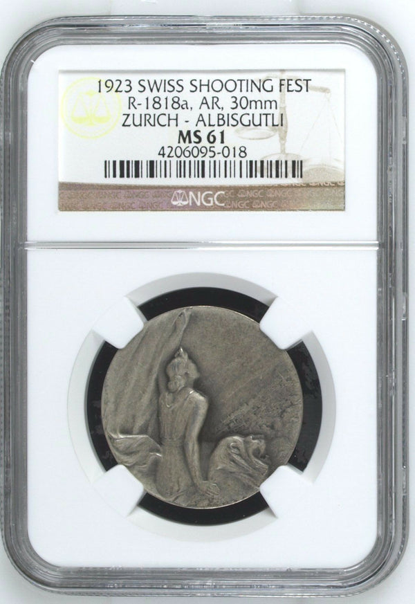 Very Rare Swiss 1923 Shooting Medal Zurich Albisgutli Woman R-1818a NGC MS61