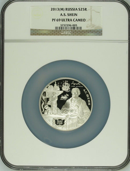 2013 Russia 5oz Silver 25 Roubles General Naval Commander Shein Ship NGC PF69