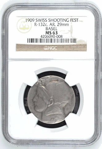 Rare Swiss 1909 Silver Medal Shooting Festival Basel R-132c Switzerland NGC MS63