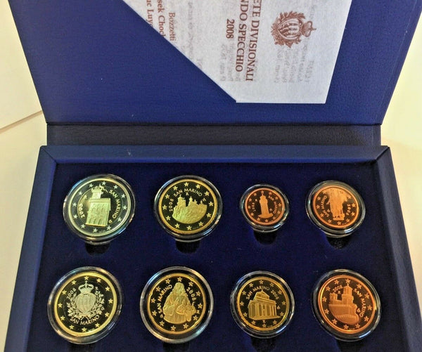 San Marino 2008 Complete Euro Proof Set 8 Coins Box COA