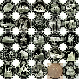 Russia USSR 1988-2009 Сomplete Set 203 Silver Coins 3 Roubles NGC PF68-70