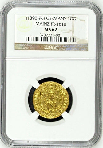 Rare Germany 1390-96 Gold 1 Gulden Mainz Konrad II Weinsberg FR-1610 NGC MS62