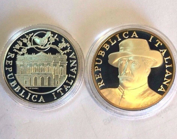 Italy 2004 Silver Proof Set 5, 10 Euro Giacomo Puccini Madama Butterfly Box COA