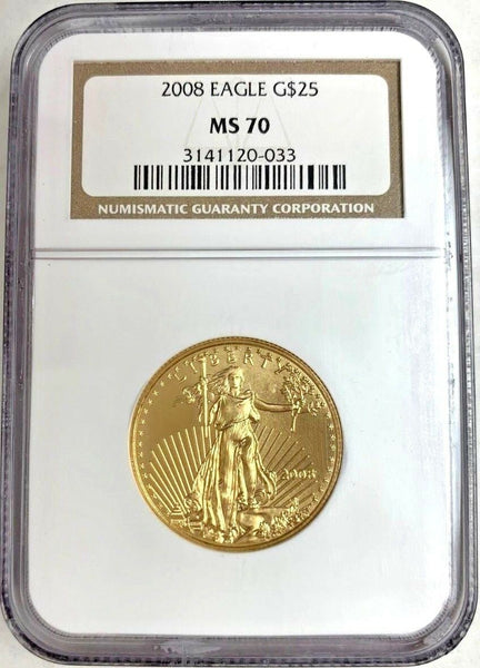 2008 Gold Coin $25 American Eagle NGC MS70 Low Mintage United States
