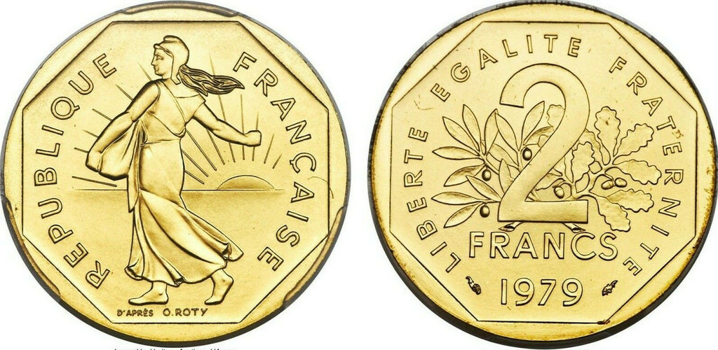 France 1979 Specimen Gold Proof 2 Francs Piefort Paris PCGS SP67 Mintage-600