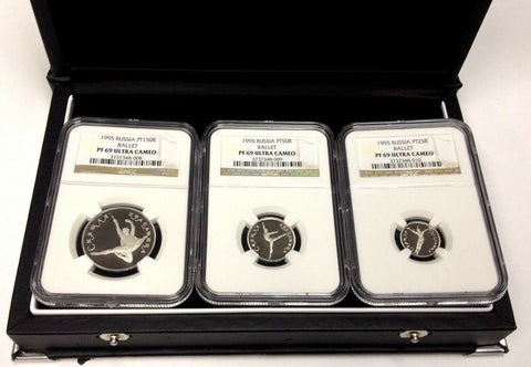 Russia 1995 Set 3 Platinum Coins Ballet Sleeping Beauty NGC PF69 Box