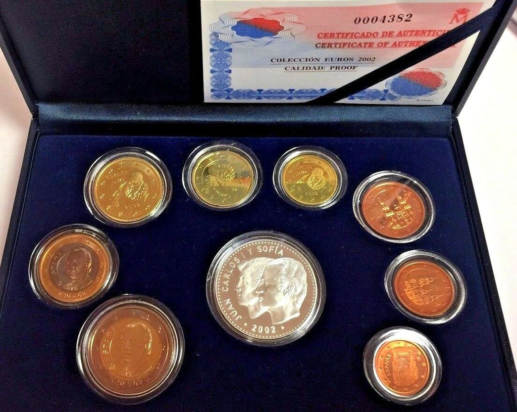 Spain 2002 Official Euro Set 9 Coins Special Edition Spain Presidency of EC