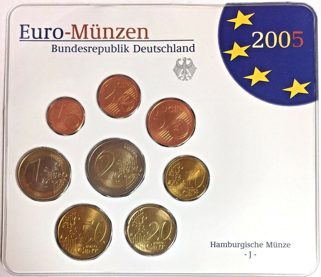 2005 J Germany Official Euro Coins Set Special Edition Hamburg Mint Deutschland