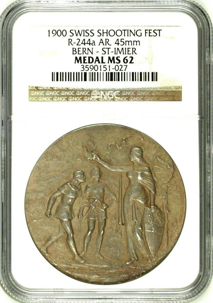 Swiss 1900 Silver Shooting Medal Bern St Imier R-244a Switzerland NGC MS62