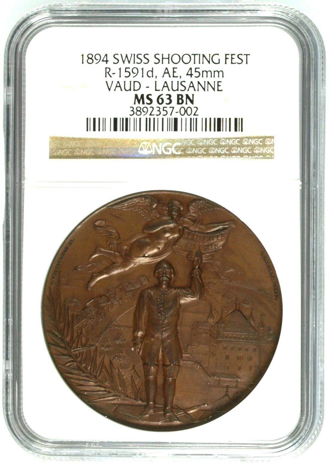 Swiss 1894 Bronze Shooting Medal Vaud Lausanne Mintage-880 R-1591d NGC MS63