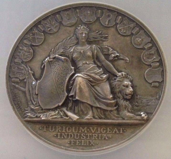 Swiss 1892 Silver Shooting Medal Zurich R-1752a Helvetia Lion NGC MS62 Very Rare