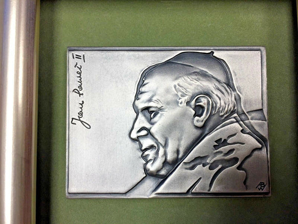 Unique 2004 Poland Pope John Paul II Rectangular Silvered High Relief Medal COA