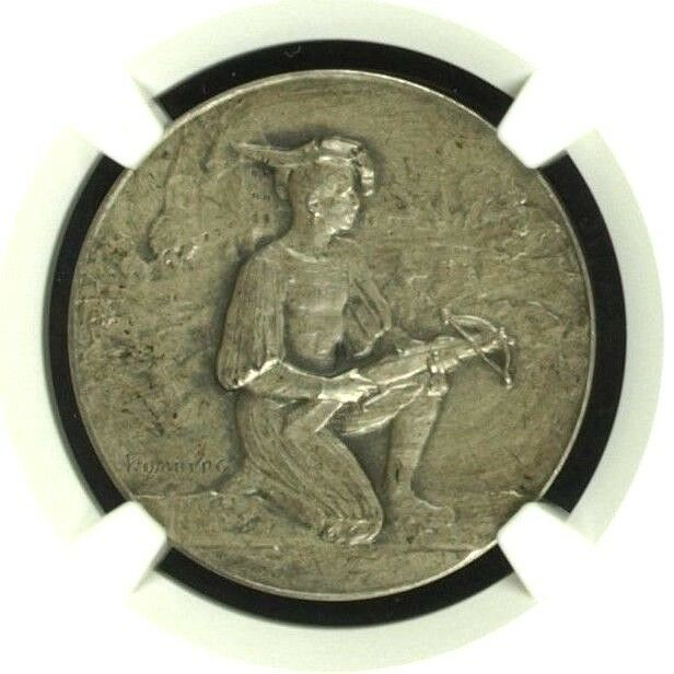Swiss 1907 Silver Shooting Medal Bern Burgdorf R-258b Archer NGC MS64 Mint. 400