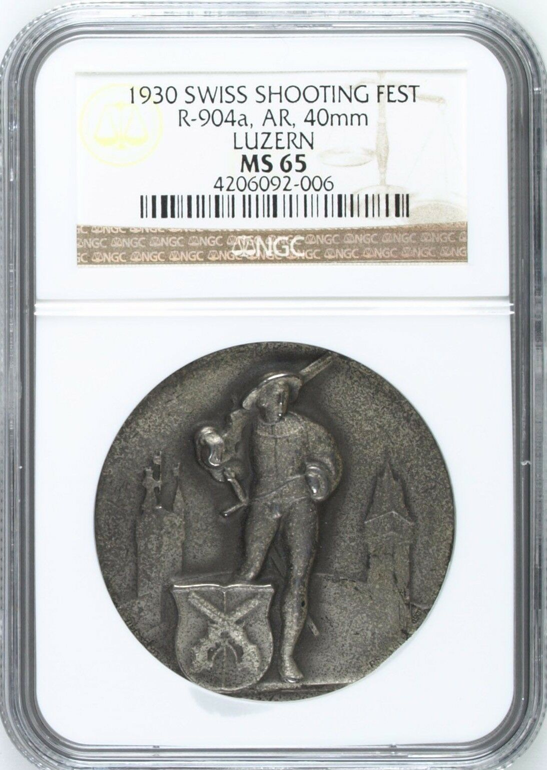 Swiss 1930 Silver Medal Shooting Fest Luzern Knight R-904a NGC MS65 Mintage-993