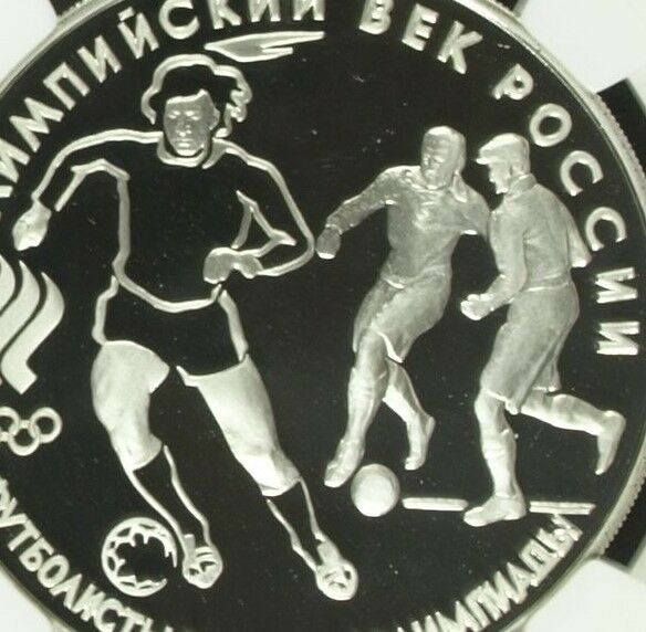 Russia 1993 Silver Commemorative Coin 3 Roubles Olympics Soccer NGC PF69 Footbal