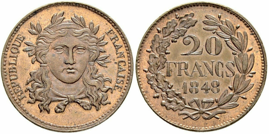France 1848 Essai Piefort Cooper Trial 20 Francs NGC MS65 MAZ-1251 Rare